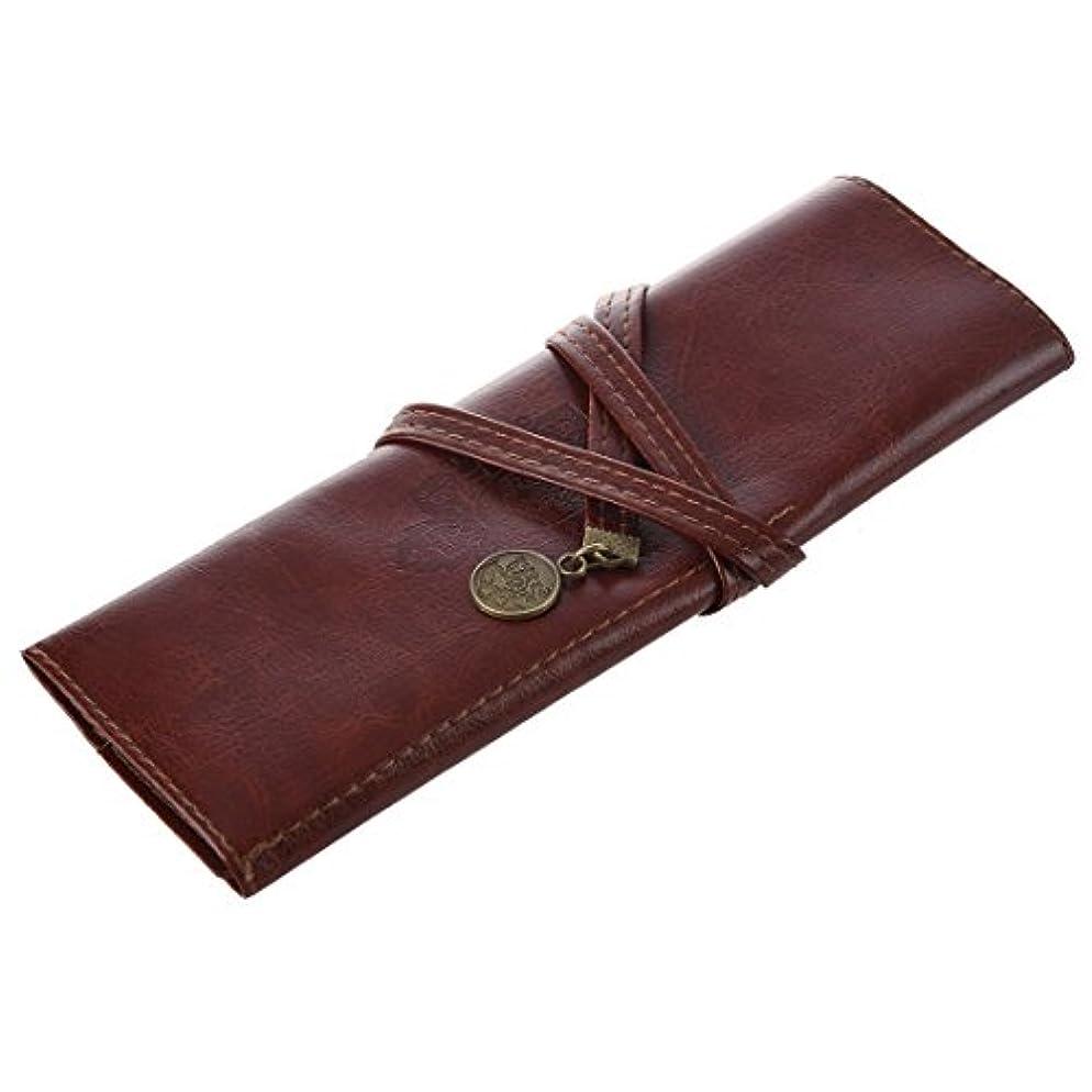 化粧ブラシバッグ,SODIAL(R) 1個のケースPUレザーペンペンシルケースペンシルバッグ化粧ブラシバッグ
