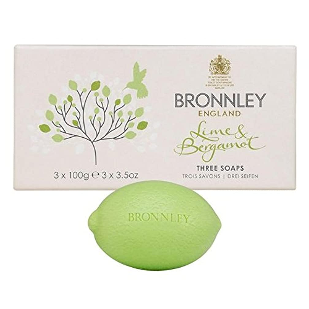実際の余裕がある絶対のライム&ベルガモット石鹸3×100グラム x2 - Bronnley Lime & Bergamot Soap 3 x 100g (Pack of 2) [並行輸入品]