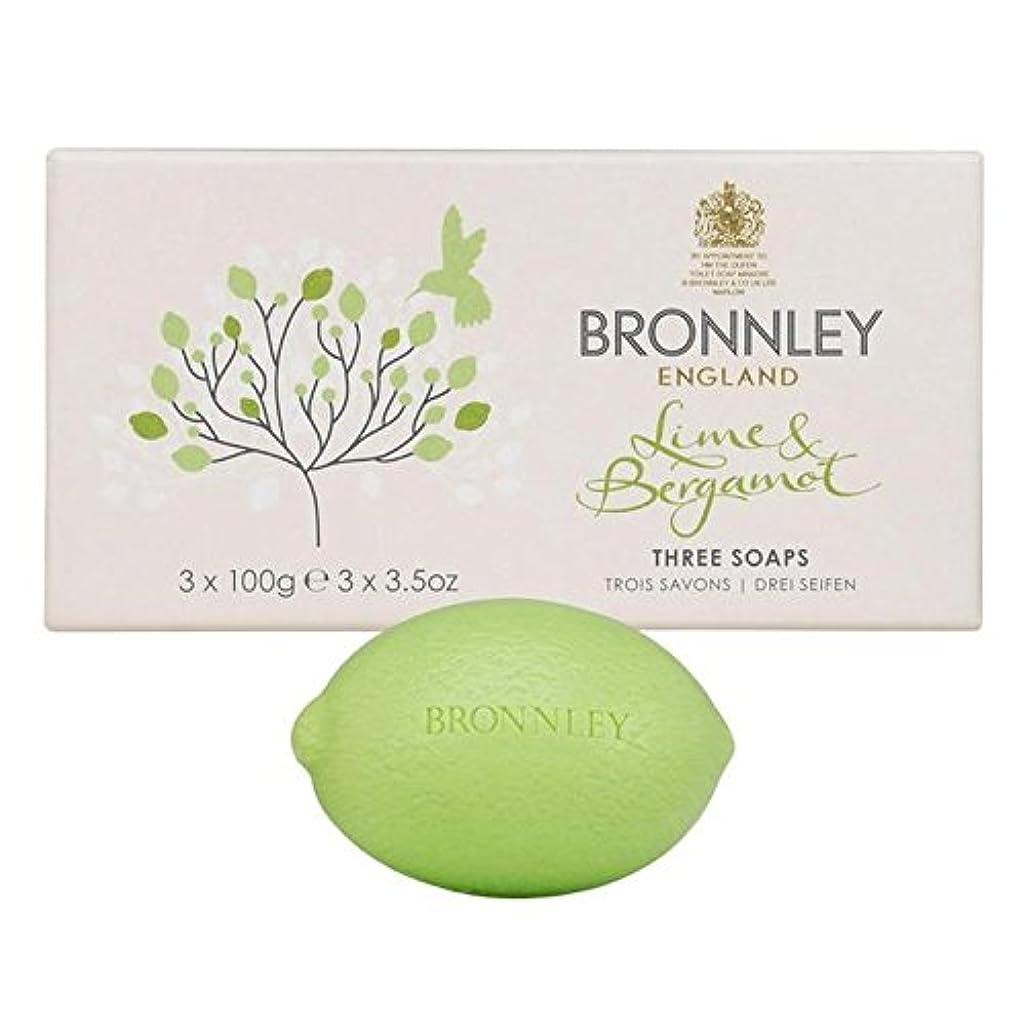 黒くする読みやすさ成熟したBronnley Lime & Bergamot Soap 3 x 100g - ライム&ベルガモット石鹸3×100グラム [並行輸入品]