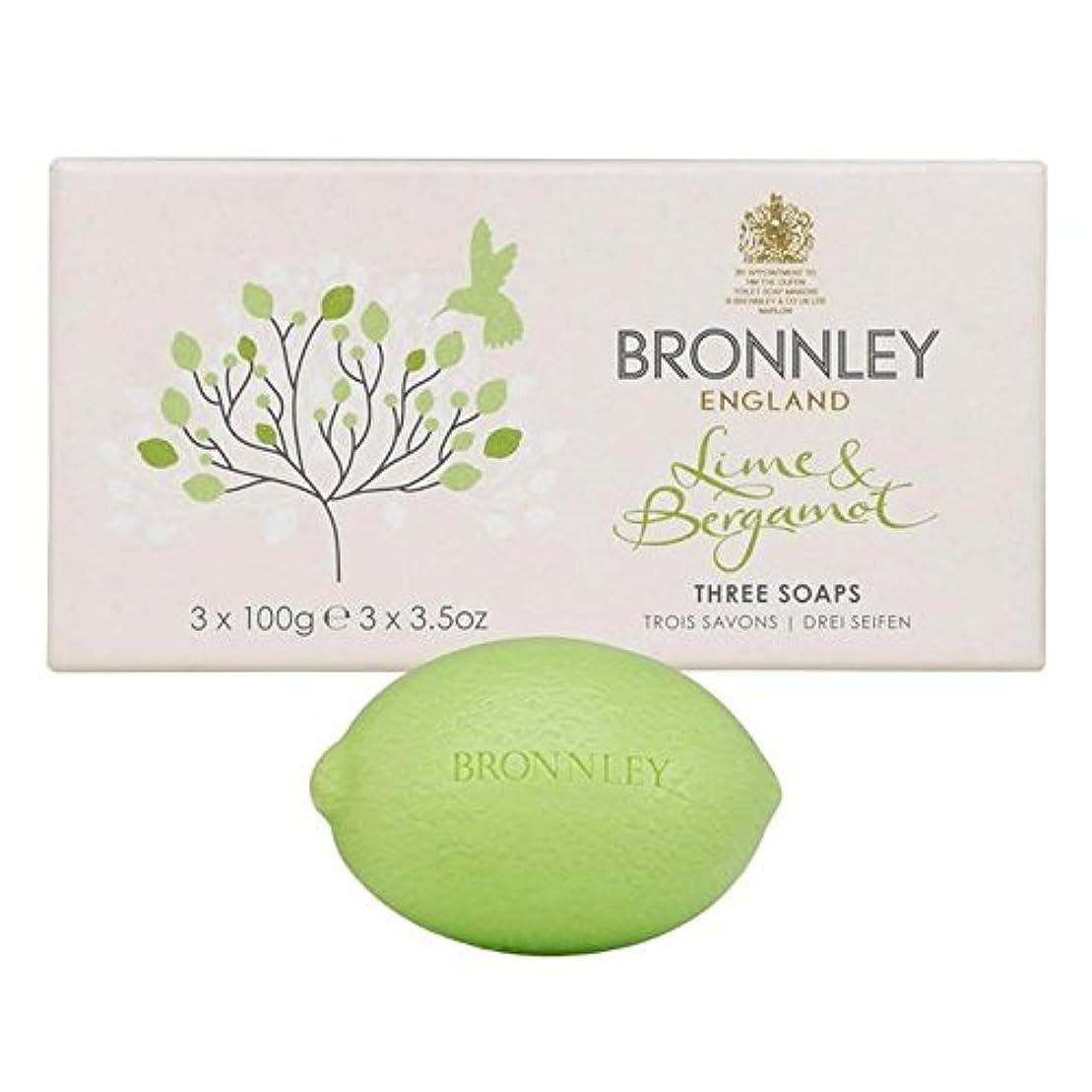 やさしい掘るアコーライム&ベルガモット石鹸3×100グラム x4 - Bronnley Lime & Bergamot Soap 3 x 100g (Pack of 4) [並行輸入品]