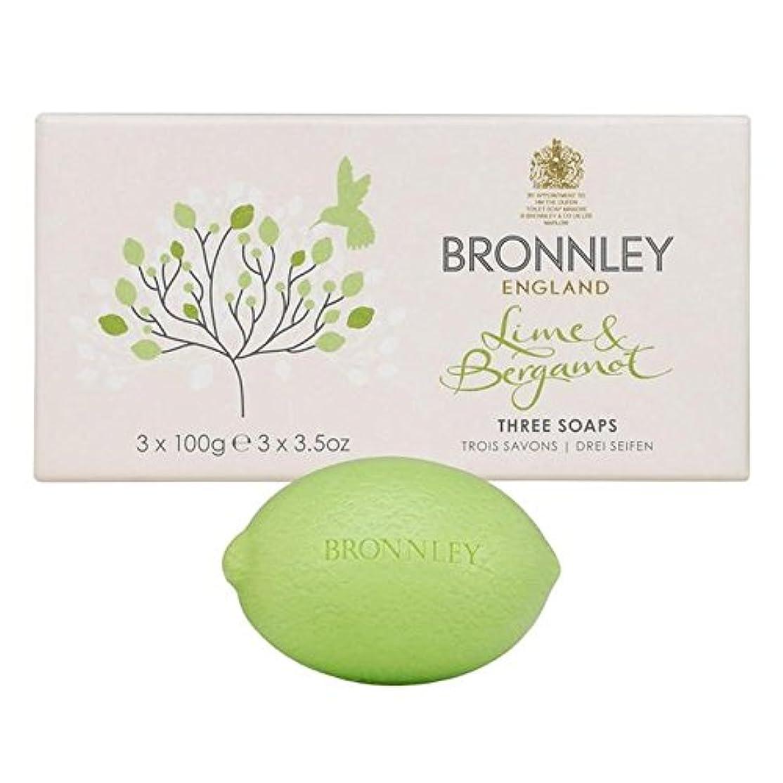尊敬服面白いライム&ベルガモット石鹸3×100グラム x4 - Bronnley Lime & Bergamot Soap 3 x 100g (Pack of 4) [並行輸入品]