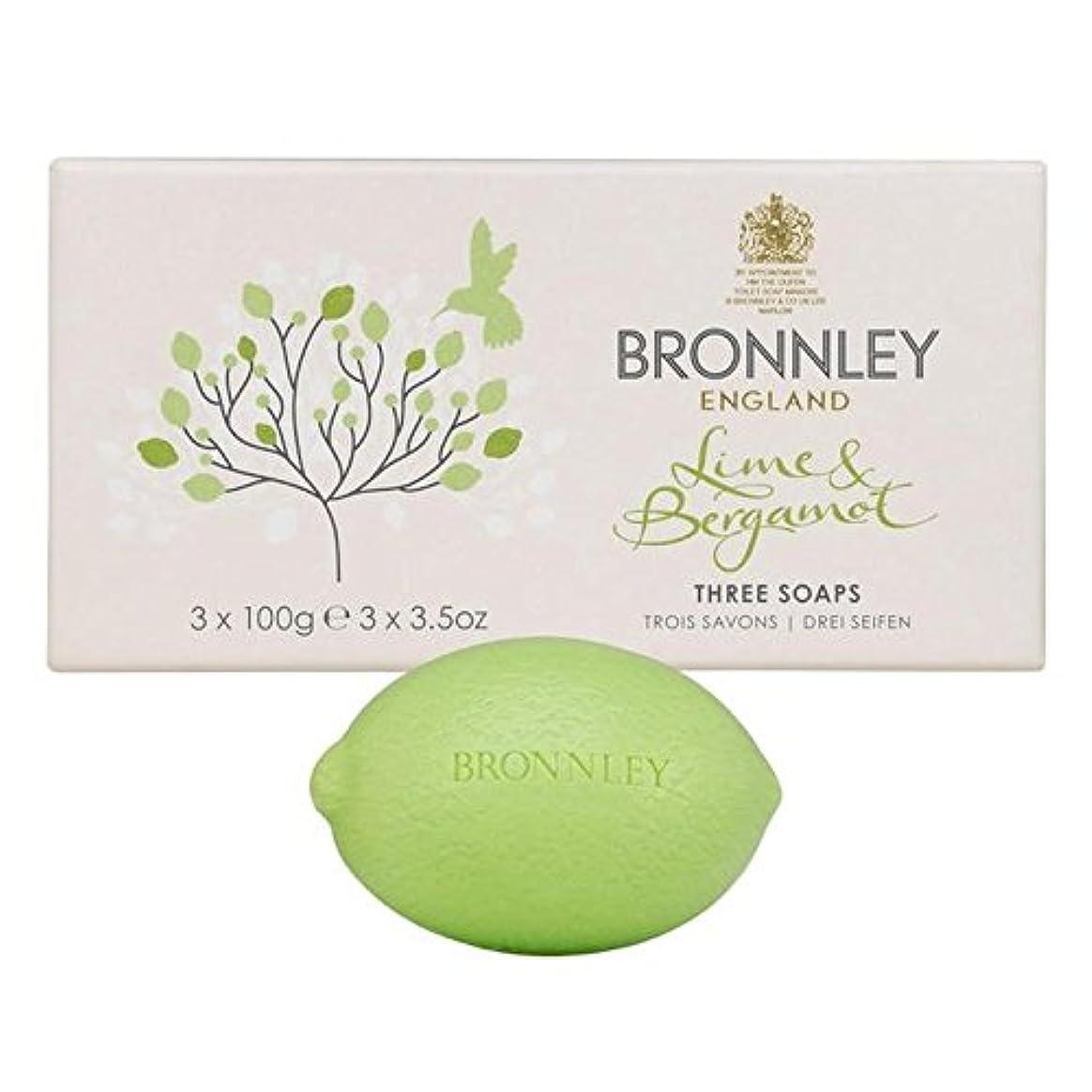 軸ケントシンプトンライム&ベルガモット石鹸3×100グラム x4 - Bronnley Lime & Bergamot Soap 3 x 100g (Pack of 4) [並行輸入品]