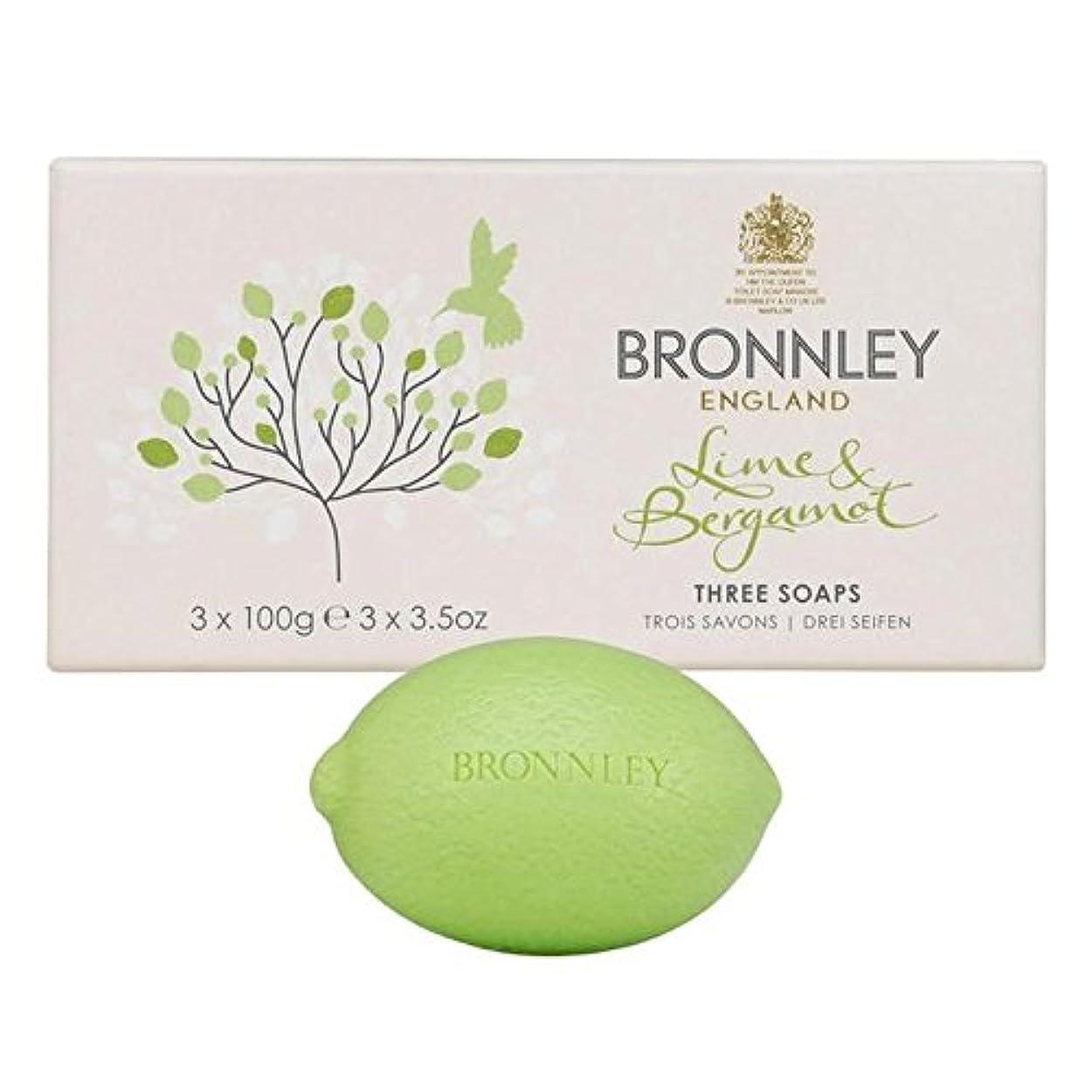 雇用者学者リスクライム&ベルガモット石鹸3×100グラム x4 - Bronnley Lime & Bergamot Soap 3 x 100g (Pack of 4) [並行輸入品]
