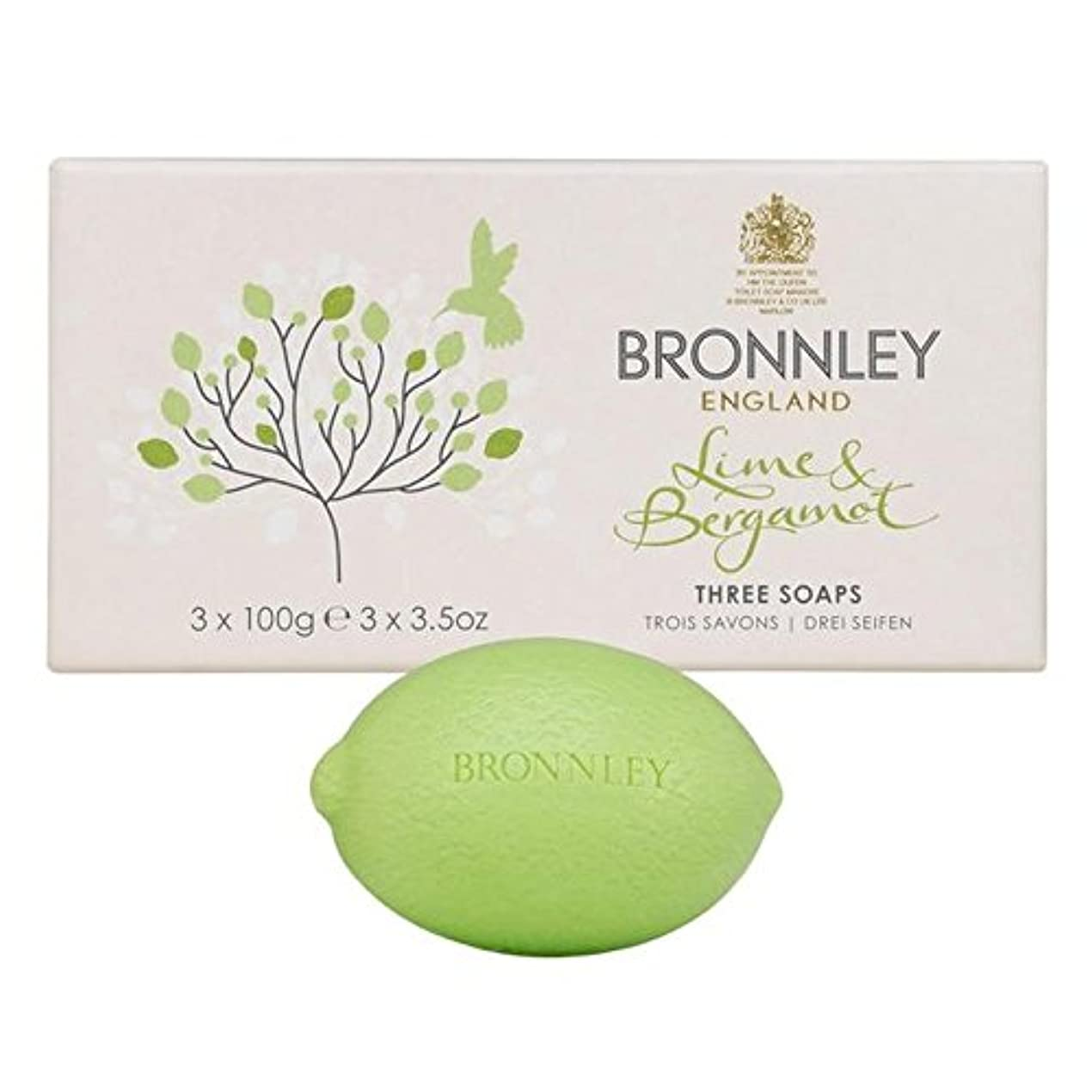 歌手アパル申し立てるBronnley Lime & Bergamot Soap 3 x 100g (Pack of 6) - ライム&ベルガモット石鹸3×100グラム x6 [並行輸入品]