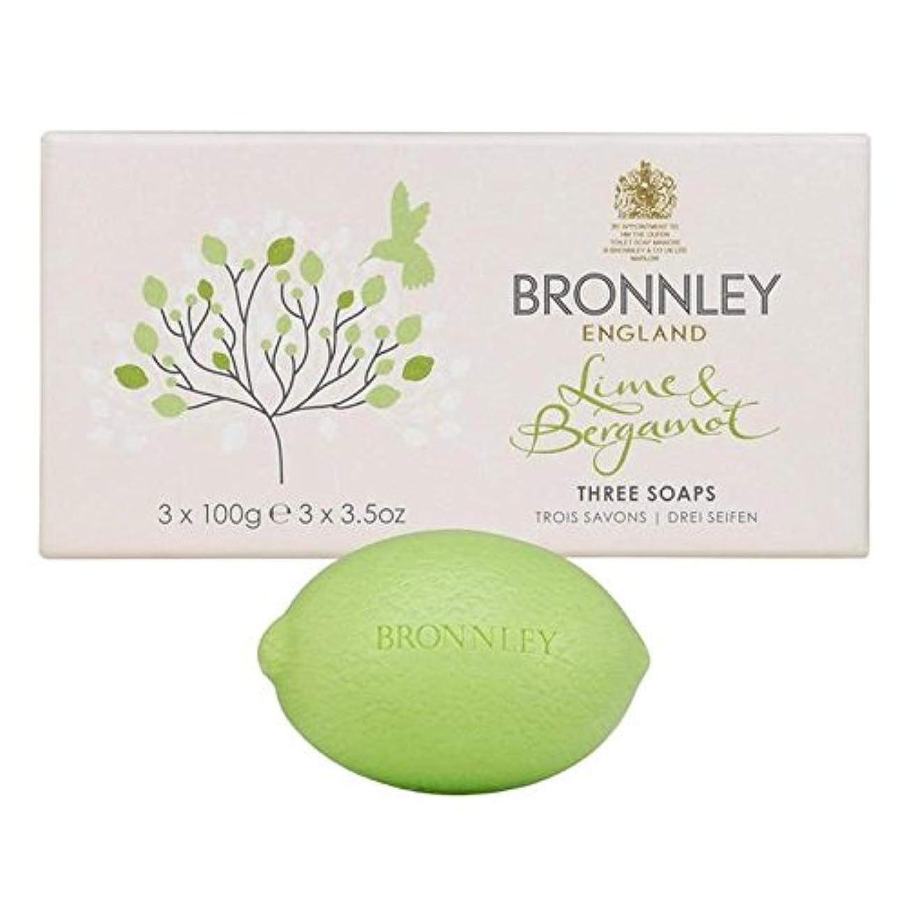 追加する漏斗逸脱ライム&ベルガモット石鹸3×100グラム x2 - Bronnley Lime & Bergamot Soap 3 x 100g (Pack of 2) [並行輸入品]