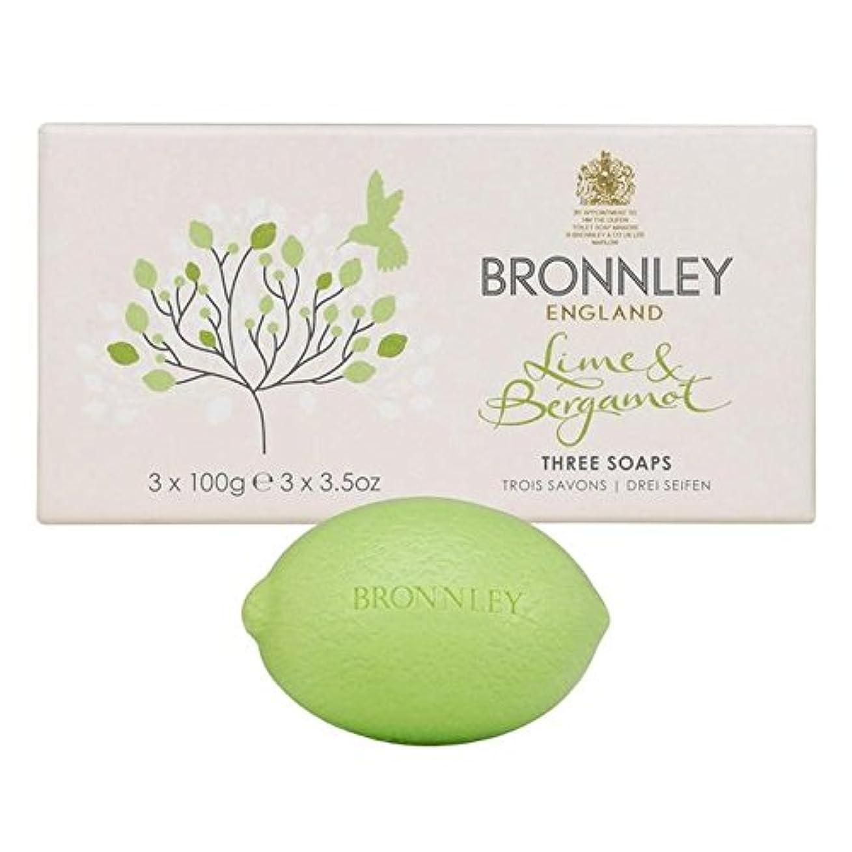 お手伝いさんハードウェア晩餐Bronnley Lime & Bergamot Soap 3 x 100g - ライム&ベルガモット石鹸3×100グラム [並行輸入品]