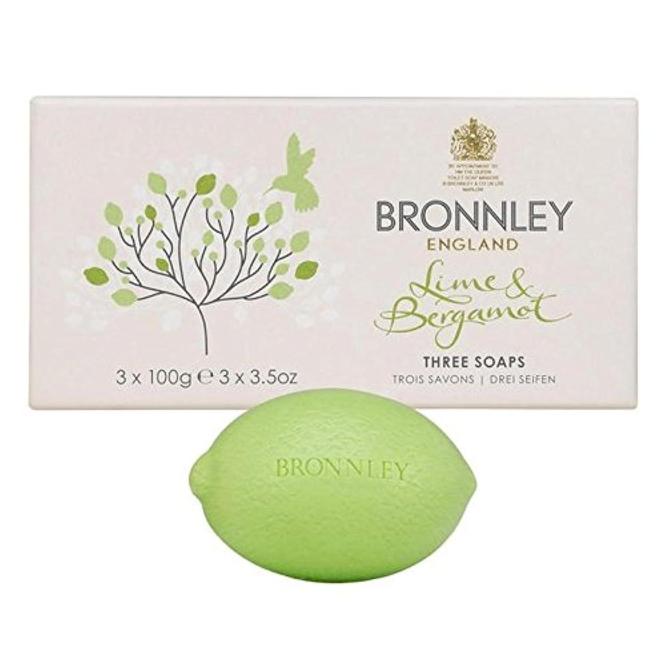 人差し指閉塞同僚ライム&ベルガモット石鹸3×100グラム x2 - Bronnley Lime & Bergamot Soap 3 x 100g (Pack of 2) [並行輸入品]