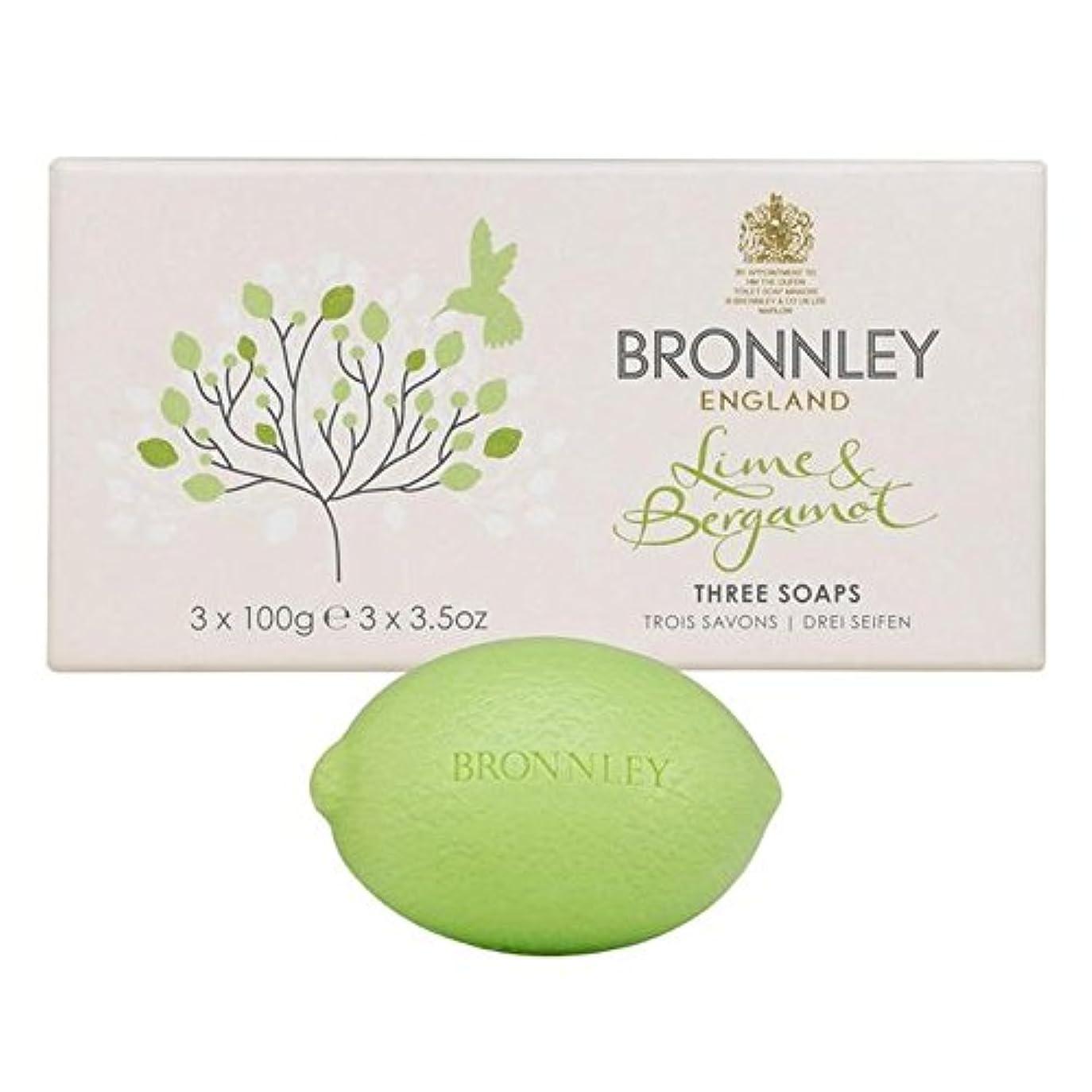 討論潮悩むライム&ベルガモット石鹸3×100グラム x4 - Bronnley Lime & Bergamot Soap 3 x 100g (Pack of 4) [並行輸入品]