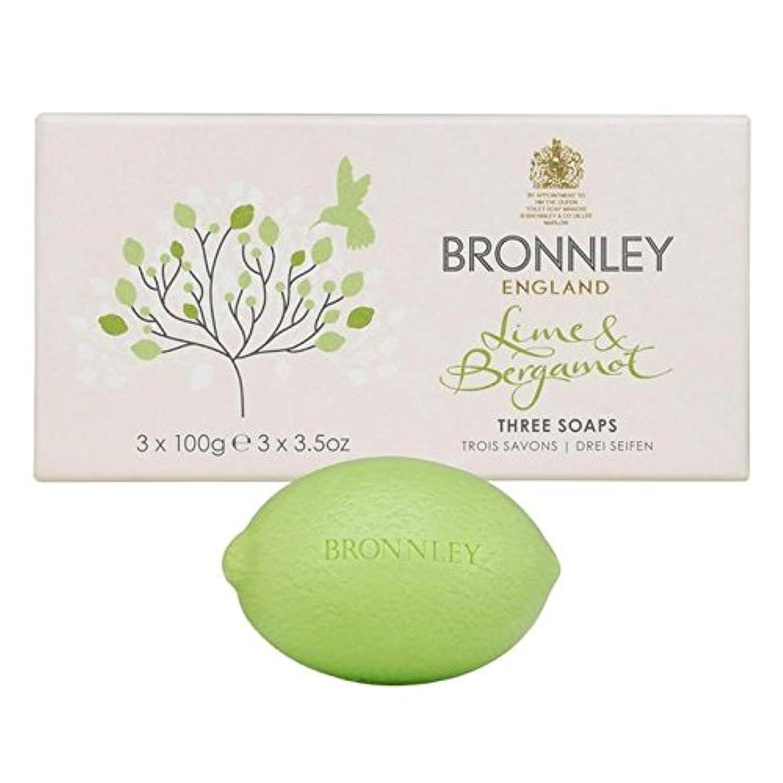 トランクライブラリ曇った書士ライム&ベルガモット石鹸3×100グラム x4 - Bronnley Lime & Bergamot Soap 3 x 100g (Pack of 4) [並行輸入品]