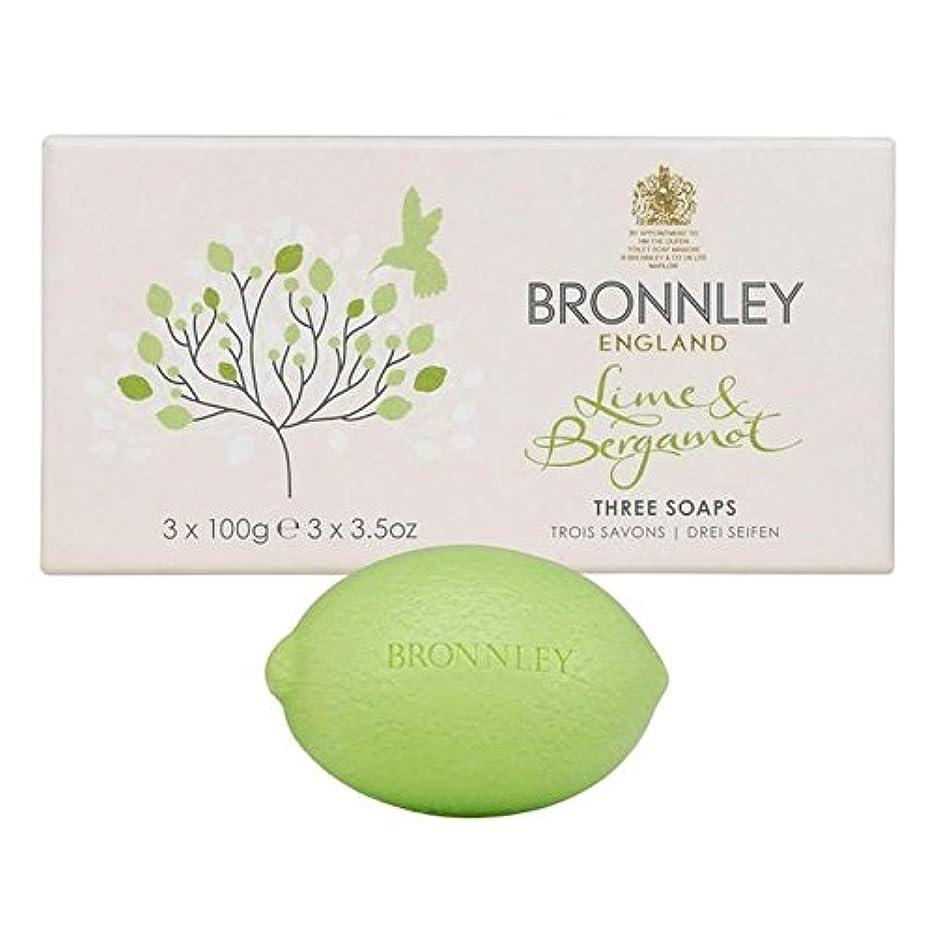 フォーマット破滅的な特殊ライム&ベルガモット石鹸3×100グラム x4 - Bronnley Lime & Bergamot Soap 3 x 100g (Pack of 4) [並行輸入品]