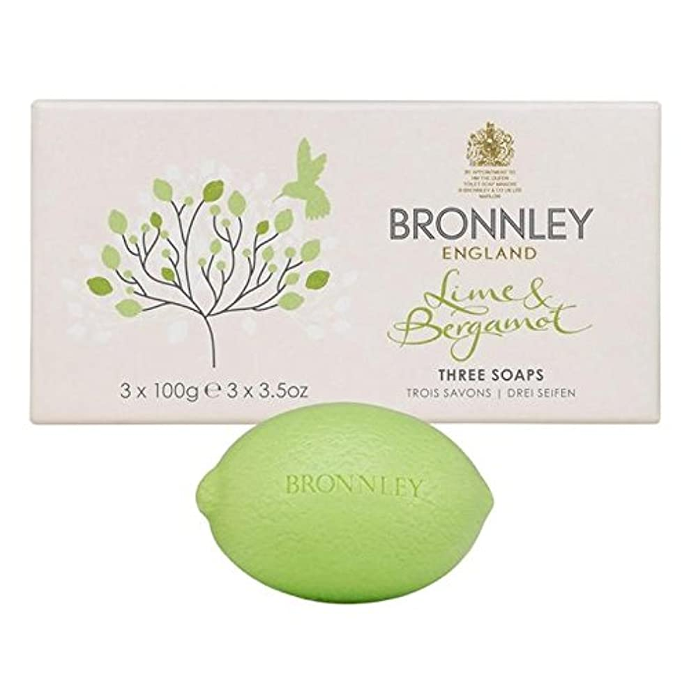 振りかける飢え砂利ライム&ベルガモット石鹸3×100グラム x4 - Bronnley Lime & Bergamot Soap 3 x 100g (Pack of 4) [並行輸入品]