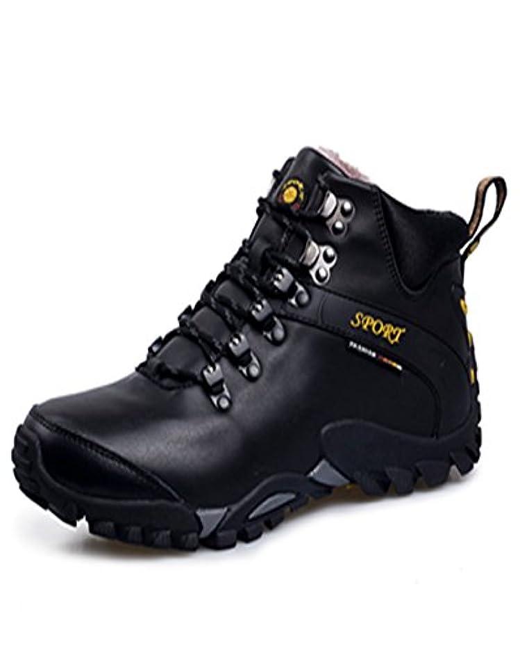礼拝限られた限られた登山靴 トレッキングシューズ ハイカット メンズ  ショートブーツ 裏起毛 ワークブーツ  ウォーキングシューズ 滑らず クッション 透湿性 耐磨耗 衝撃吸収 ハイキング キャンプ アウトドア  ブラック 25.5CM