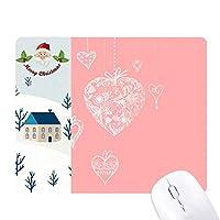 ピンクのハートの花のバレンタインデー サンタクロース家屋ゴムのマウスパッド
