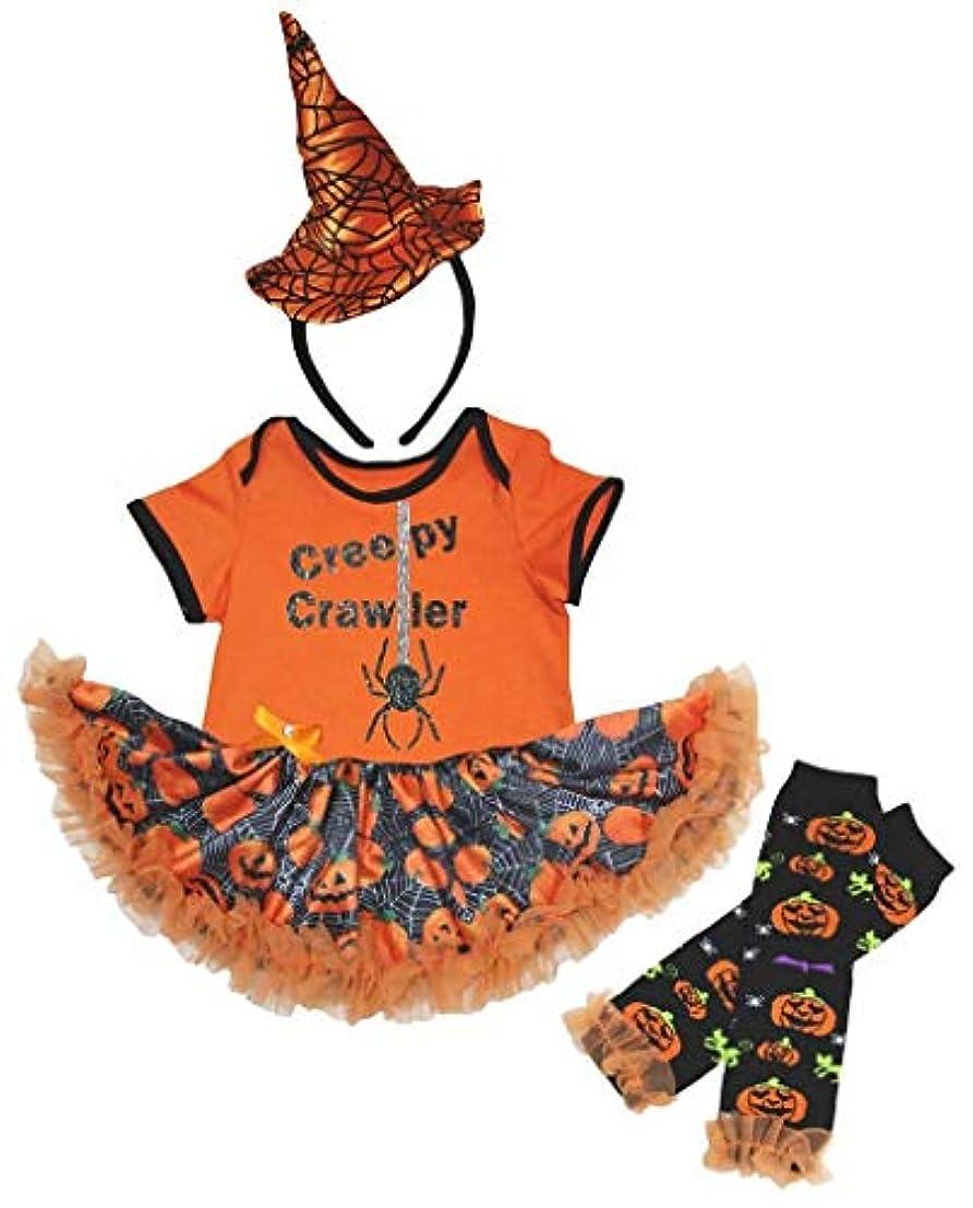 モバイル払い戻し鼻[キッズコーナー] ハロウィン Creepy Crawler スパイダー オレンジ パンプキン カボチャ ボディスーツ、子供のチュチュ、ベビー服、女の子のワンピースドレス レッグウォーマー セット Nb-18m (オレンジ, Large) [並行輸入品]