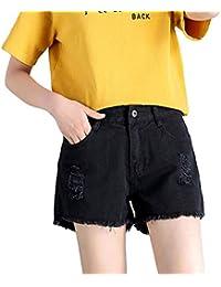 【TaoTech】 デニム ショート パンツ レディース 綿100 ダメージ 切りっぱなし 美脚 脚長 大きい サイズ