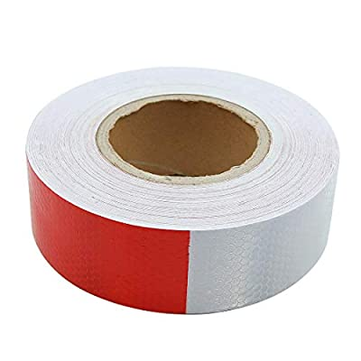 X AUTOHAUX 30m Red White Reflective Tape Safety Strips Warning Sticker for Car Truck