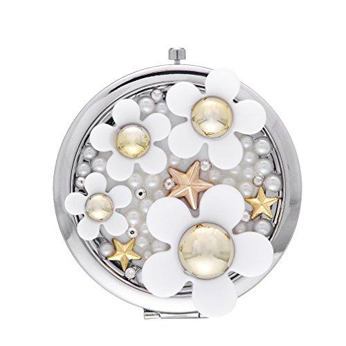 EOZY オシャレで可愛いデイジーデザイン手鏡ハンドミラー折りたたみ7*7cmレディースガールズ化粧お出かけ