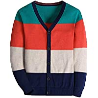 BASADINA Boy Striped Sweater Cardigan Zipper Up Closure Sweater Jacket Boys Thick Sweater Long Sleelve Cotton