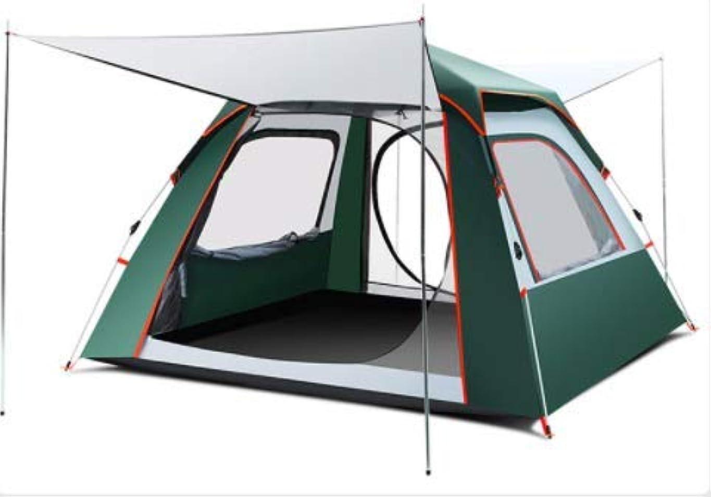 主流用量出版Hkkint 家族の屋外キャンプテントキャンプ3-4人高級オックスフォード布防水と防風240 * 240 * 150センチ (Color : グリーン)