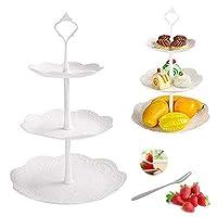 3層フルーツケーキスタンドタワーラックプラスチックカップケーキデザートstand-teaパーティーServing Platter and 8pcsフルーツフォーク結婚式、パーティー、お茶パーティー、休日Dinners、または誕生日