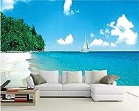 Lcymt 3D壁紙カスタム壁画写真青空白い雲海景ビーチセーリング家の装飾壁壁画壁紙用壁-280X200Cm