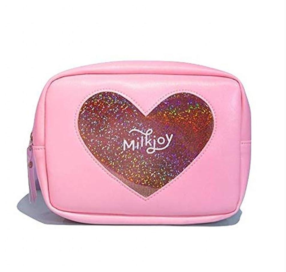 肉のクラッシュ落胆したSasuga 大容量 コスメ ポーチ 化粧品 小物 収納 小型 バッグ Heart 透明 窓 中身が見える (ピンク)