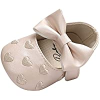 Weixinbuy Toddler Girl Bow-Knot Heart Embroidered Soft Sole Anti-Slip Shoes