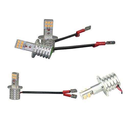 e-auto fun 12V専用LEDヘッドライト/フォグランプ H3/H3C兼用タイプ 60W/6500K SHARP製LEDチップ12連搭載 コンパクト設計ミニサイズ 純正ハロゲンサイズ 2本セット