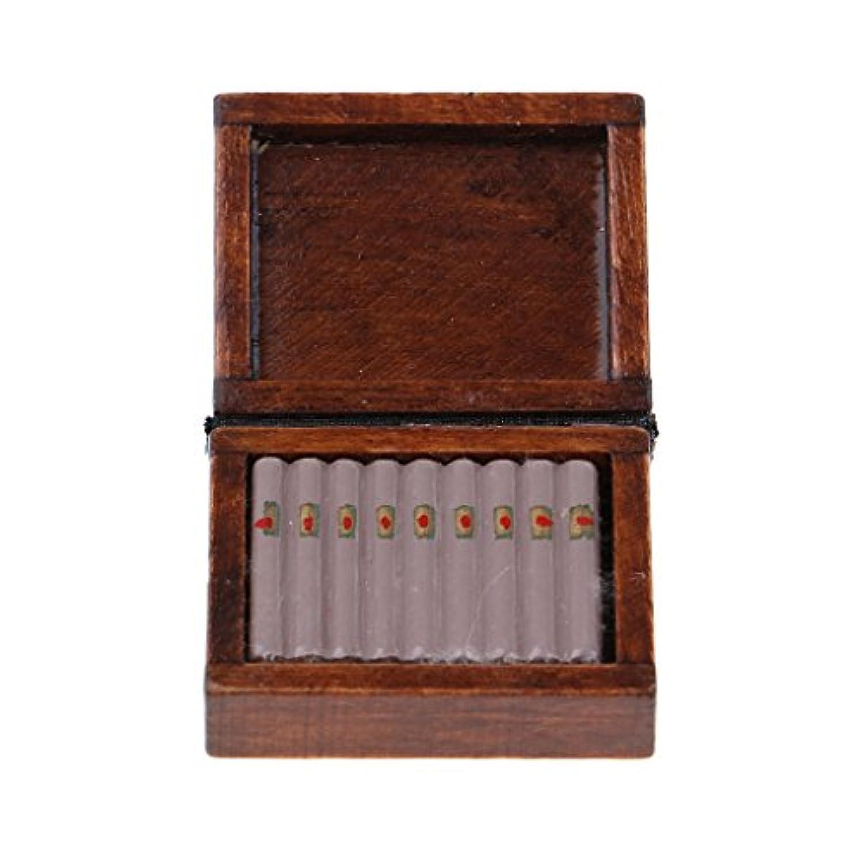 B Blesiya 1/12木製シガータバコボックス ドールハウス ミニチュア コレクション 茶色