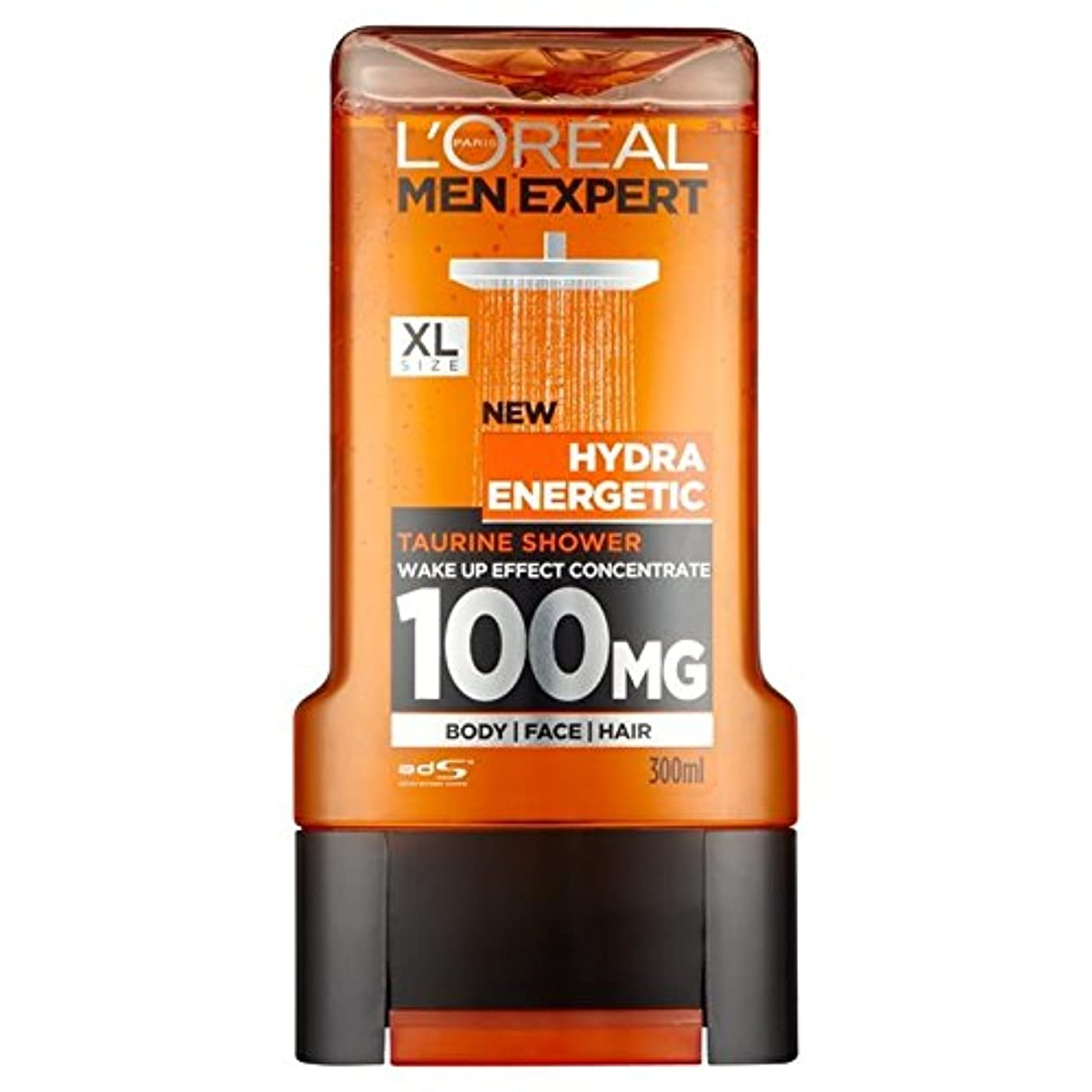 杖農学光電ロレアルパリのメンズ専門家ヒドラエネルギッシュなシャワージェル300ミリリットル x4 - L'Oreal Paris Men Expert Hydra Energetic Shower Gel 300ml (Pack...