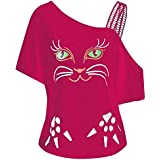 Hosam レディース 洋服 片肩 猫 お洒落 おもしろ プリント Tシャツ お洒落 体型カバ― お呼ばれ 通勤 日常 快適 大きなサイズ シンプルなデザイン 20代30代40代でも (L, ピンク)