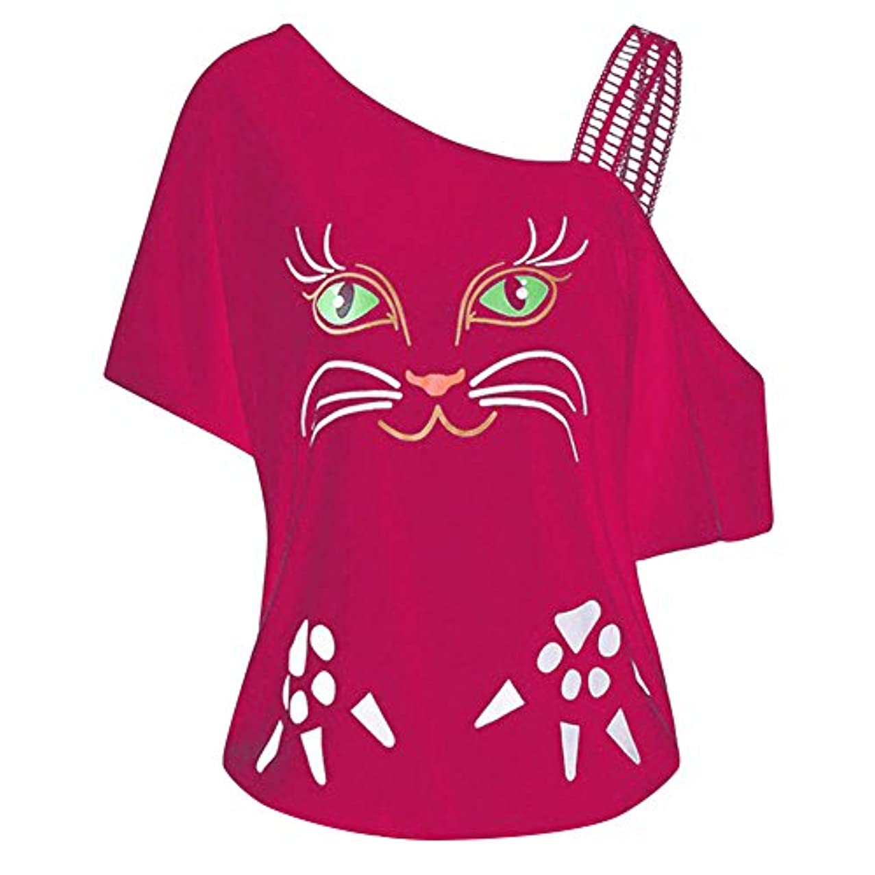 医薬白鳥怖がらせるHosam レディース 洋服 片肩 猫 お洒落 おもしろ プリント Tシャツ お洒落 体型カバ― お呼ばれ 通勤 日常 快適 大きなサイズ シンプルなデザイン 20代30代40代でも (L, ピンク)