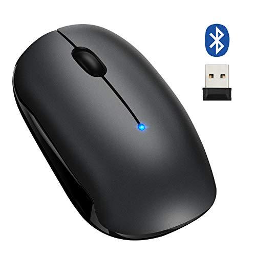 Bluetooth マウス 静音 ワイヤレスマウス Bluetooth&無線2.4GHz両対応 2400DPI高精度 2台設備接続可能 使い分け可能 5段階解像度 電源スイッチ Mac/Windows/surface/MicrosoftProに対応 Longtop18ヶ月安心保障