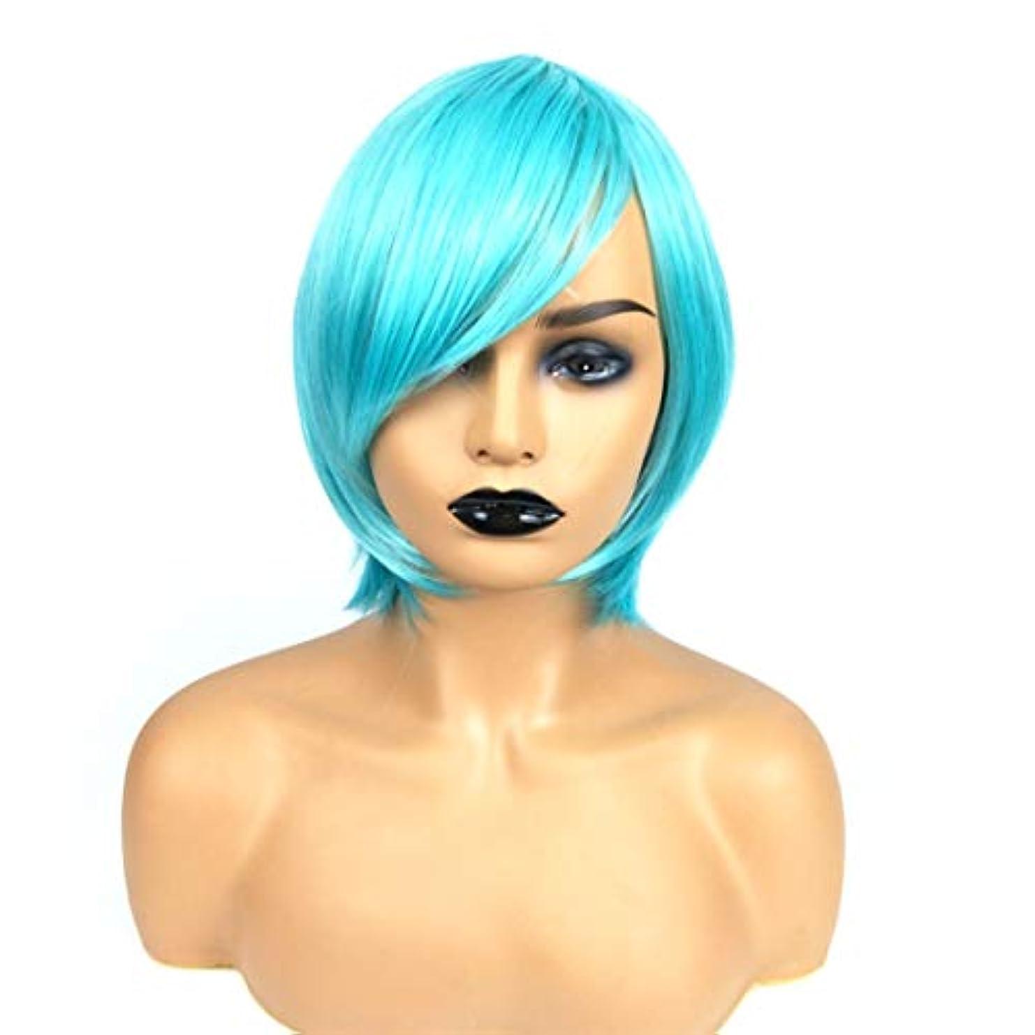 七時半悲惨壊すSummerys ライトブルーのショートストレートヘアショートボブヘアウィッグストレート前髪と女性用