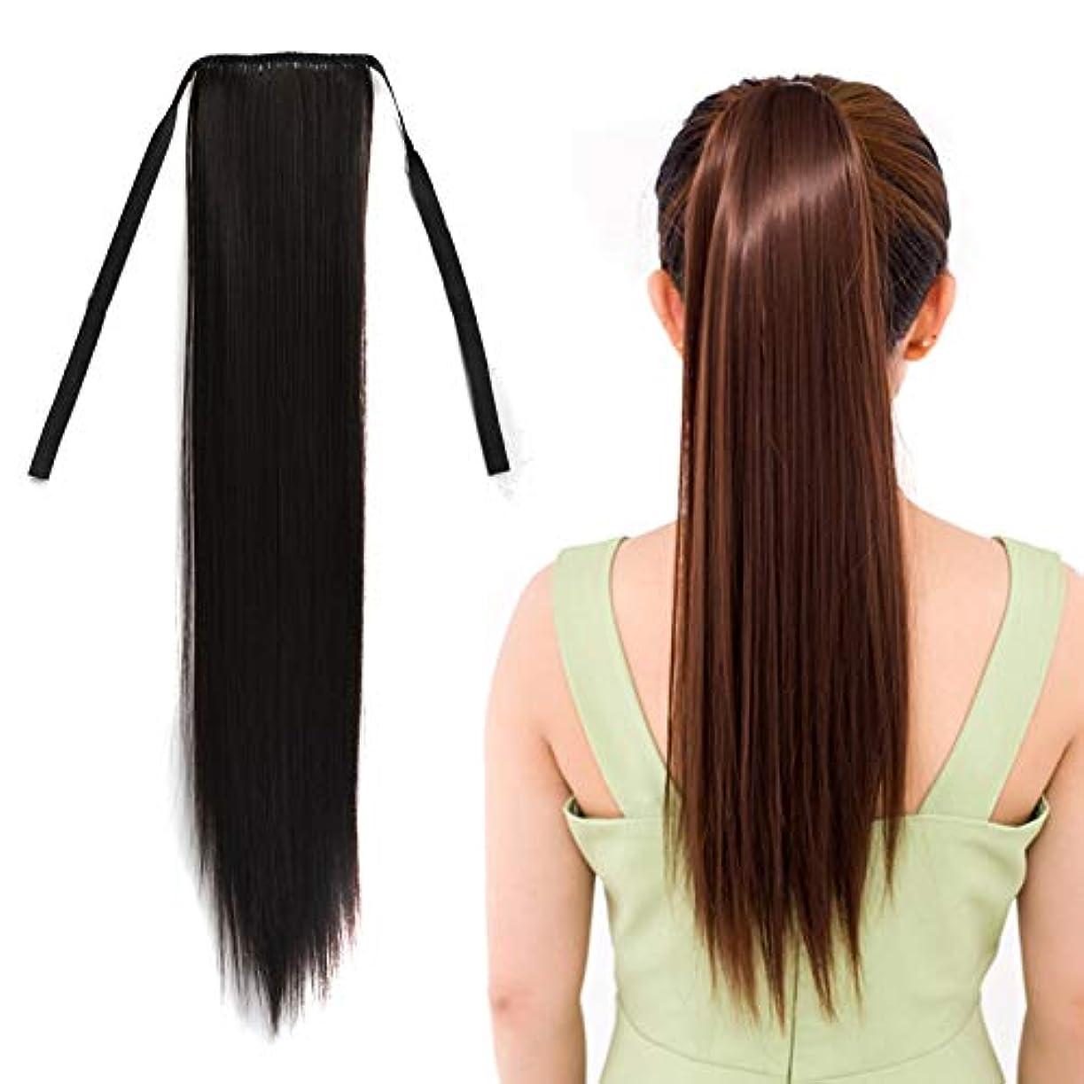 WTYD 美容ヘアツール ナチュラルロングストレートヘアポニーテールBandagestyleウィッグポニーテール、長さ:60cm (色 : Black)