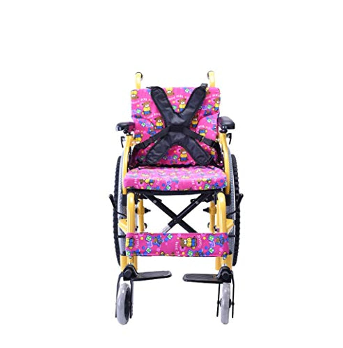 文パンオン子供用車椅子折りたたみポータブル小型ポータブル無効トロリー子供用アルミニウム手動車椅子