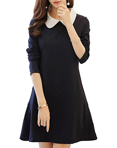 Snoneワンピース レディース 長袖 春秋 Aライン ドレス フォーマル かわいい 紺 細身 襟付き 人気