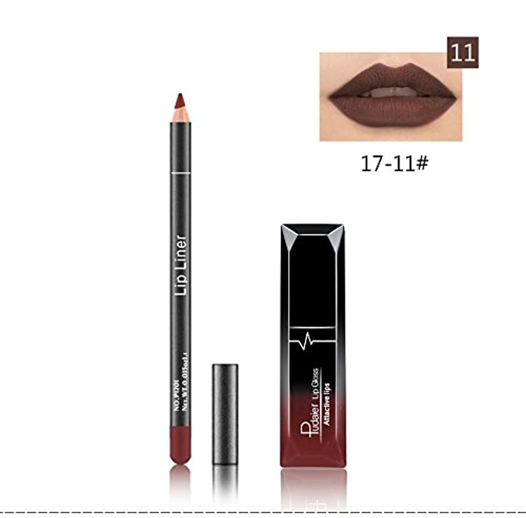 宿題をする横プラットフォーム(11) Pudaier 1pc Matte Liquid Lipstick Cosmetic Lip Kit+ 1 Pc Nude Lip Liner Pencil MakeUp Set Waterproof Long...