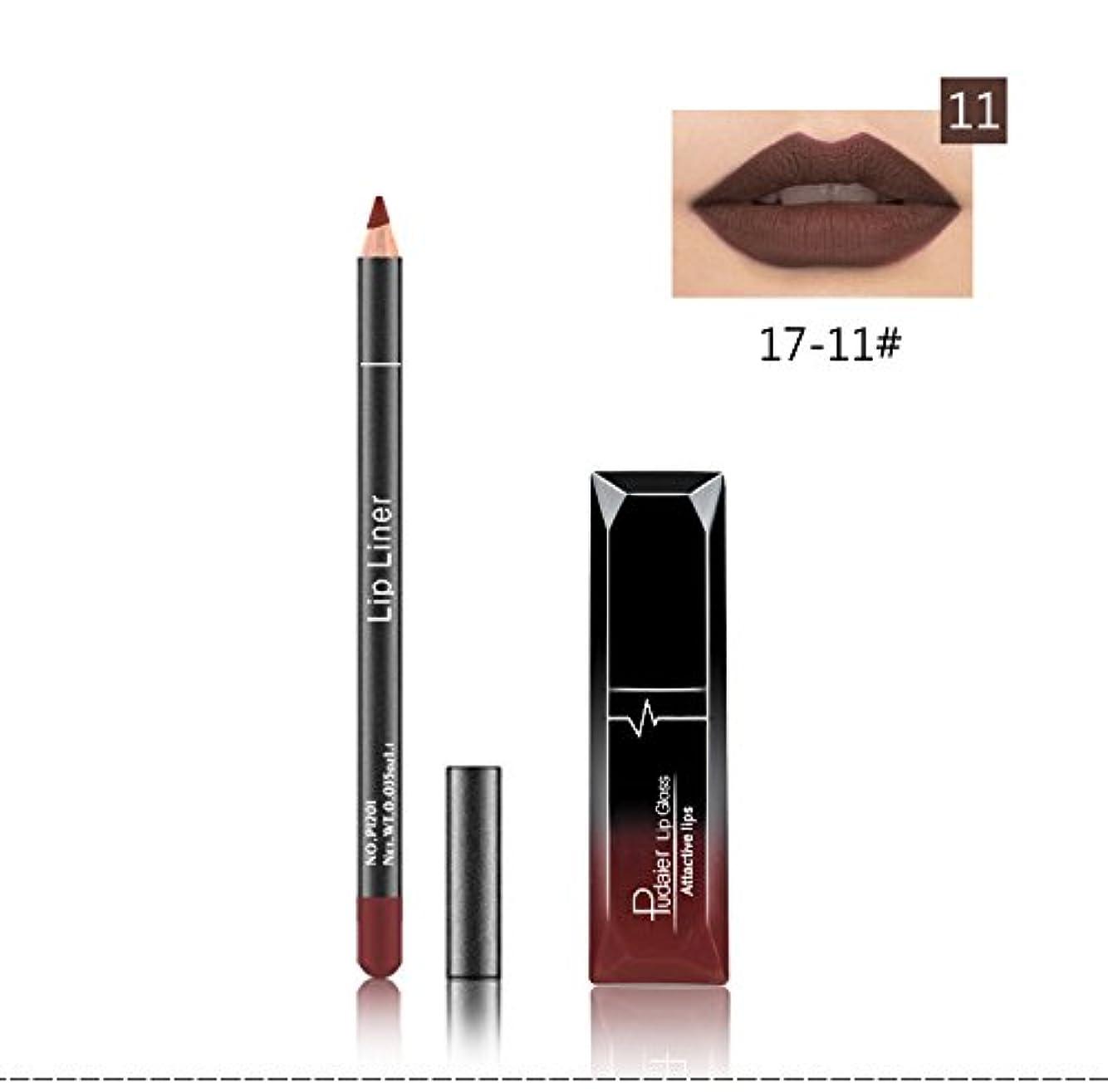 無とまり木応じる(11) Pudaier 1pc Matte Liquid Lipstick Cosmetic Lip Kit+ 1 Pc Nude Lip Liner Pencil MakeUp Set Waterproof Long...