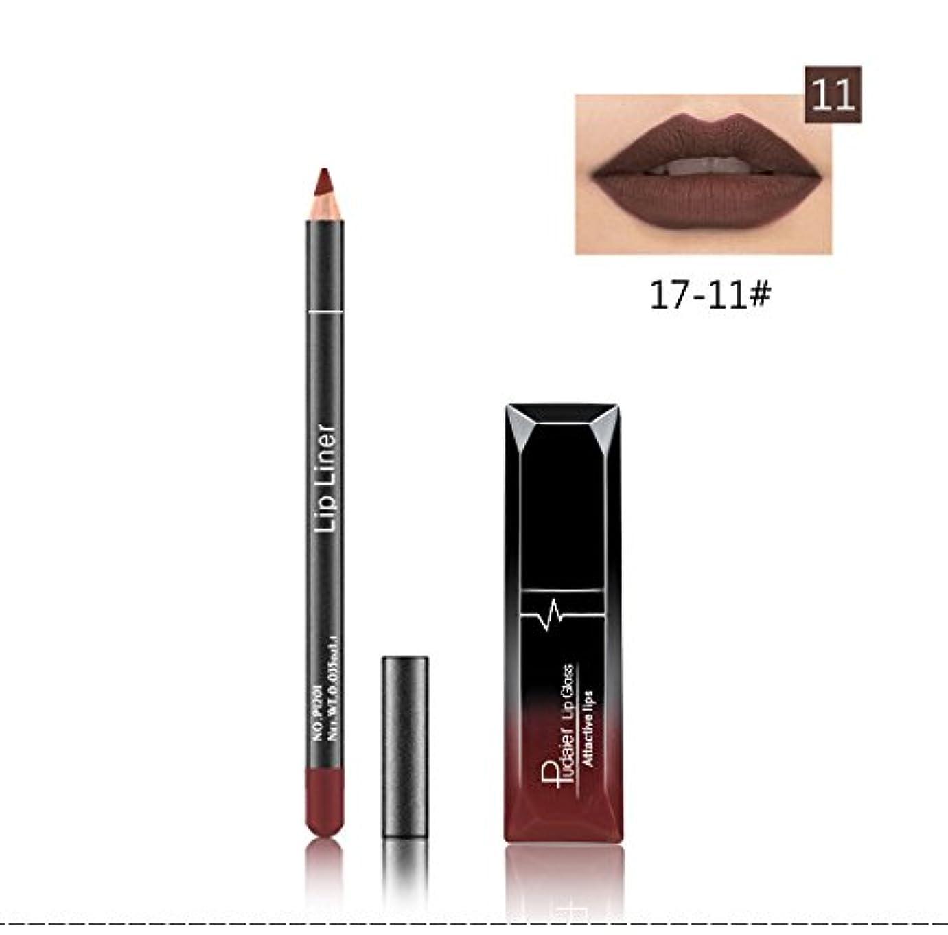 健全検出可能忘れられない(11) Pudaier 1pc Matte Liquid Lipstick Cosmetic Lip Kit+ 1 Pc Nude Lip Liner Pencil MakeUp Set Waterproof Long...