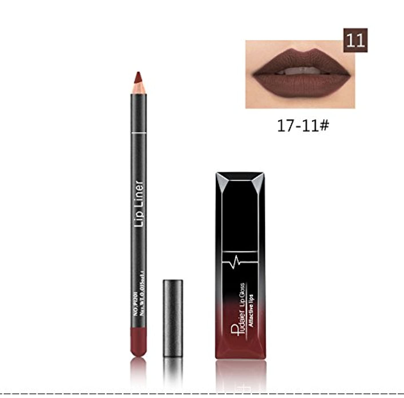 同僚巻き戻す最高(11) Pudaier 1pc Matte Liquid Lipstick Cosmetic Lip Kit+ 1 Pc Nude Lip Liner Pencil MakeUp Set Waterproof Long...