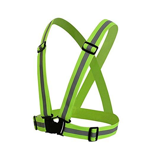 RICHELE Reflective Safety Vest 反射安全ベスト ランニング ジョキング 自転車 バイク用 反射チョッキ (緑)