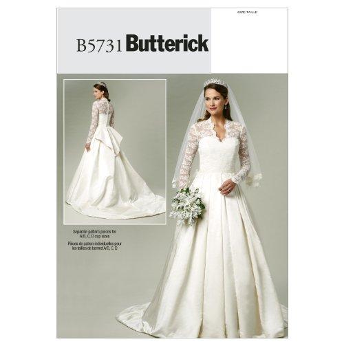【Butterick】プリンセススタイルウェディングドレスの型紙 サイズ:US6-8-10-12-14