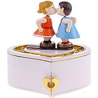 D DOLITY 音楽ボックス オルゴール  ハート形 キス人形 時計仕掛け 誕生日プレゼント テーブル飾り ウェディングギフト