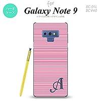 SC-01L SCV40 Galaxy Note9 スマホケース カバー ボーダー ピンク 【対応機種:Galaxy Note9 SC-01L SCV40】【アルファベット [N]】