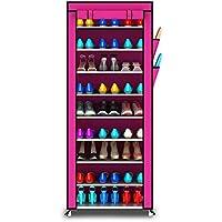 YANFEI 多層靴ラック靴キャビネット鍛造鉄ストレージ防塵靴ラックアセンブリ10層9グリッド (色 : Pink)