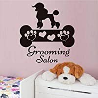 Hwhz 44X48 Cm Grooming Salon Cute Dog Wall Sticker Paw Bone Heart Print Poster Removable Vinyl Art Decals Lovely Puppy Wall Mural House