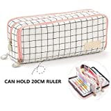 Wangyiqian Pencil Pen Case Multi Compartments Pen Bag Pouch Holder Large Capacity Square Grid Cosmetic Bags Organizer Girls B