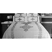 Tahari寝具3 Piece Kingサイズラグジュアリーリネン/コットンブレンド布団カバーセット刺繍シルバーグレースレッド幾何大メダルと幾何学ストライプパターンonソリッドホワイト