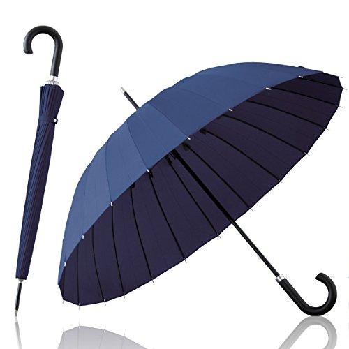 ottostyle.jp 高強度グラスファイバー 24本骨傘 【ネイビー】 テフロン加工 水をはじく 超撥水 強風でも折れにくい 長傘 梅雨 ゲリラ豪雨 夕立